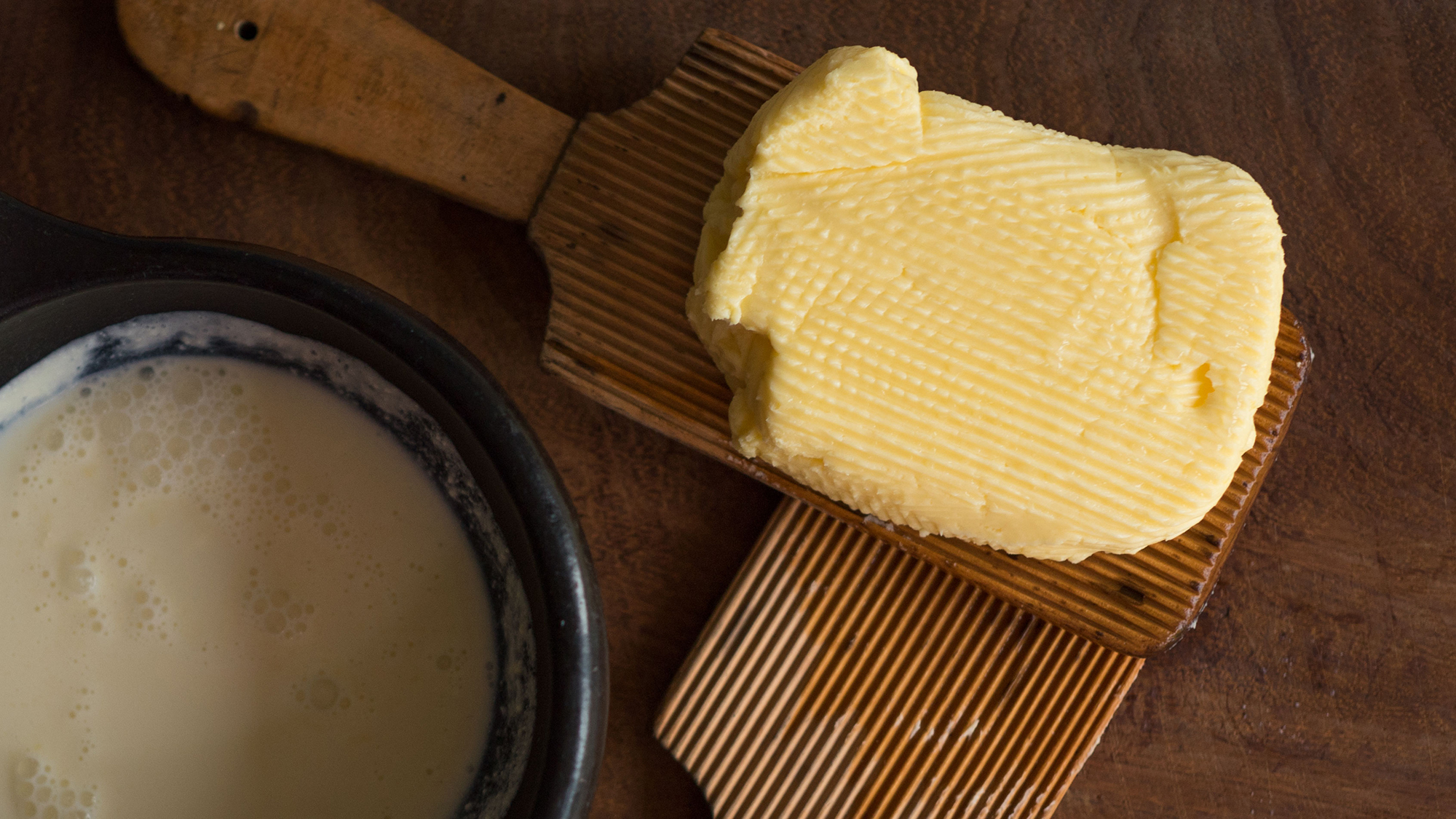 butter and butter milk and wooden butter hands